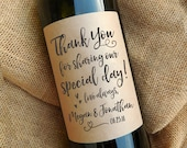 Thank You Wine Bottle Labels \\ Wedding Favor \\ Gift \\ Centerpiece