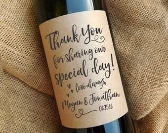 Thank You Wine Bottle Labels \\ Wedding Favor \\ Gift \\ Centerpiece