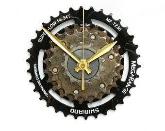 Shimano, Bike Wall Clock, Bicycle Gear Clock, Bicycle Wall Clock, Eco Clock, Recycled Bike Parts Clock, Gift for Him