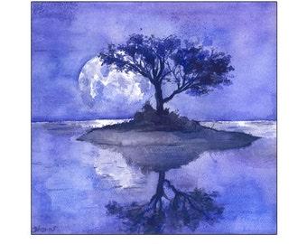 Purple Tree Painting, Original watercolor Painting, Lilac Landscape Moon painting Canvas PRINT  Realistic Art Wall decor Bohemian Wall decor