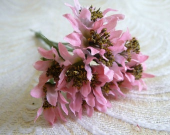 Millinery Wildflowers Bunch of 12 Pink Tiny Size for Crafts Bouquets, Corsage, Crowns 2FN0033P