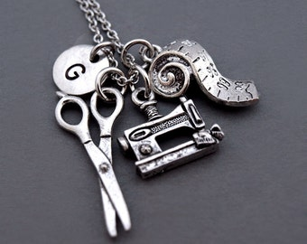 Sewing machine necklace, Sewing charm, vintage sewing machine, seamstress, Tape measure necklace, measuring tape, Scissors necklace