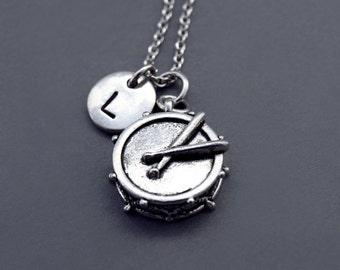 Drums Necklace, Silver drum charm, Drum stick necklace, Music, Drummer, Musician, initial necklace, personalized, antique silver, monogram