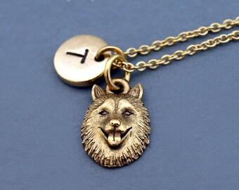 Siberian Husky dog necklace, Siberian Husky head, husky charm necklace, gold Siberian Husky, initial necklace, personalized, monogram