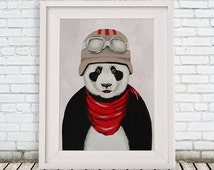 Panda Print, Panda Illustration, black and white, vintage pilot, vintage aviator, animal aviator, Coco de Paris