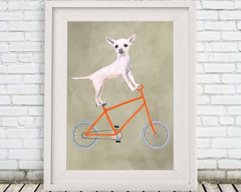 Chihuahua Print, chihuahua Illustration Art Poster Acrylic Painting Kids Decor Drawing Gift, Dog on bicycle, bicycle print