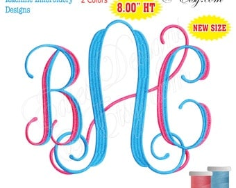 Vine Monograms 2 Color Machine Embroidery Designs Monograms Fonts BX Format Digital Download