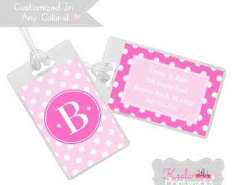 Personalized Luggage Tag - Bag Tag - You Choose the Colors,  & Personalization Style - Polka Dots - Bridesmaid Gift - Pink Luggage