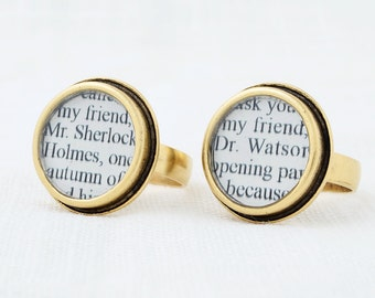 Sherlock Holmes – Sherlock and Watson Friendship Rings – Sherlock Jewelry – Best Friend Gift – Literary Gifts for Friends