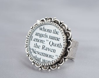 Nevermore Raven Ring – The Raven – Edgar Allan Poe – Gothic Jewelry - Literature Jewelry – Edgar Allan Poe Jewelry