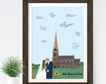 Church Guest Book Alternative with Personalized Wedding Church Illustration, Unique wedding guest book alternative for Church Wedding