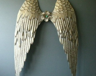 Gold color Metal Angel Wings wall decor. Rustic gold.