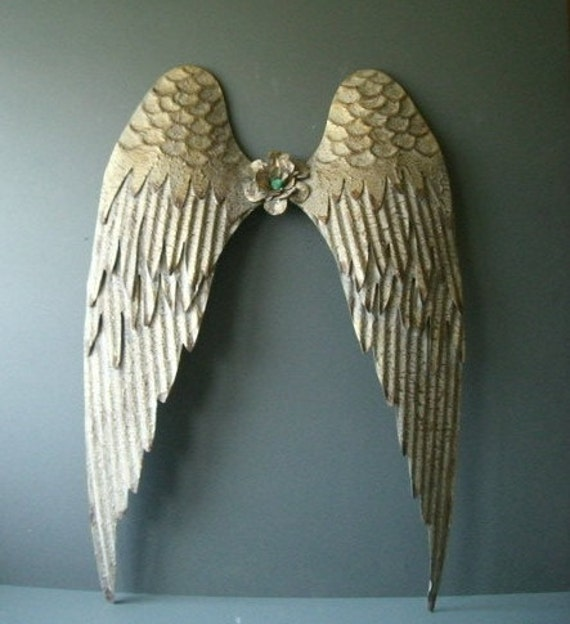 Items similar to gold metal angel wings wall decor rustic for Angel wings wall decoration