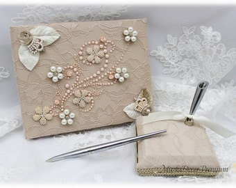 Champagne Lace Guest Book Pen Holder Set Jeweled Book Birthday Signature Book Brooch Guest Books in Champagne, Ivory, Blush Pink