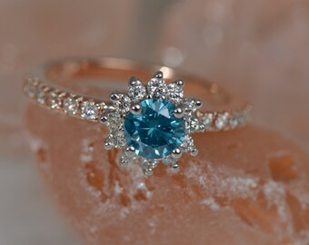 ONE-OF-A-KIND: Blue Diamond Ring (14K White and Rose Gold)