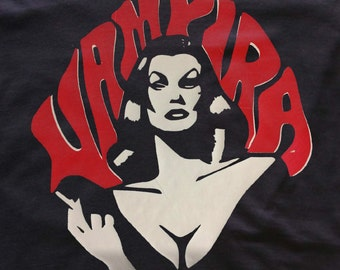 Vampira Maila Nurmi t-shirt - Red & White- goth girl