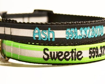 "Personalized Dog Collar / Reflective / Pets / Adjustable Dog Collars / gray-green-black-orange / Made to Order / 3/4"" - 5/8"""
