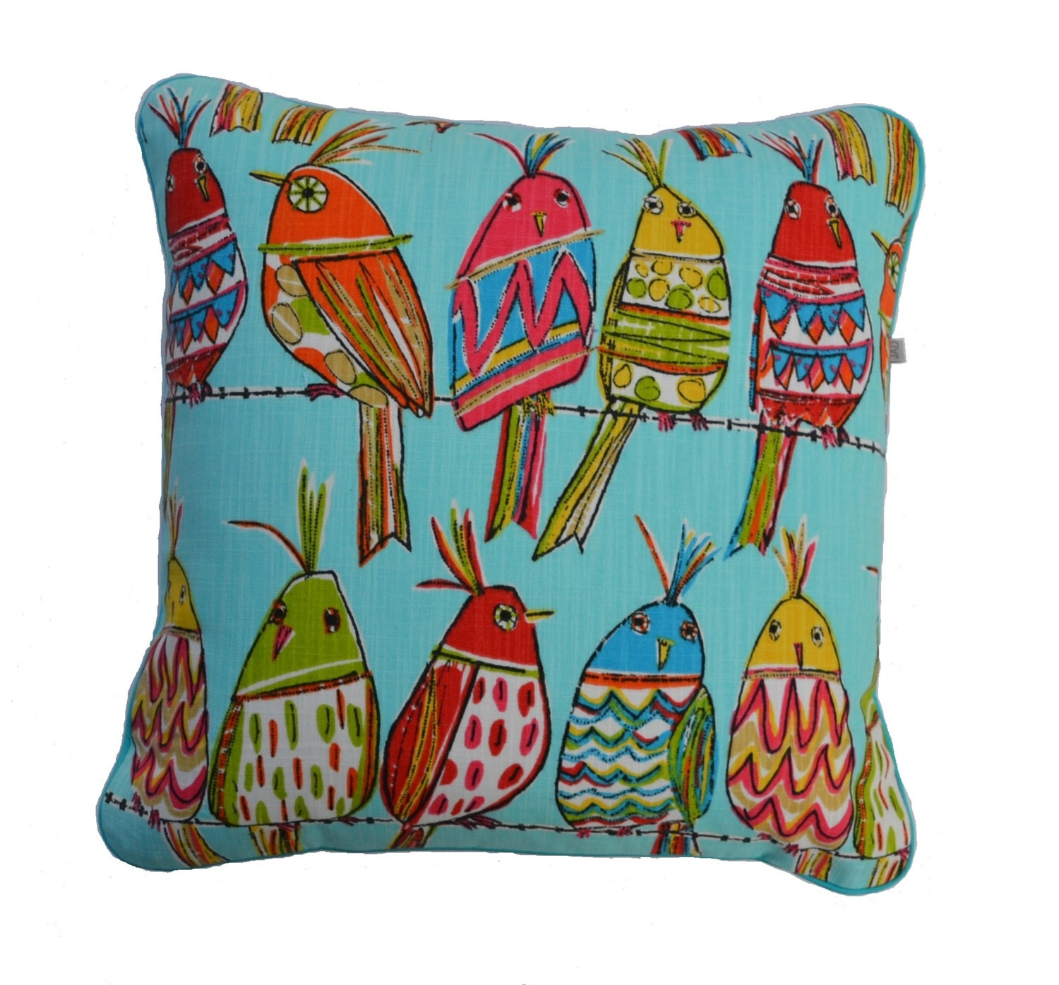 Decorative Pillows . Birds on a wire . by JulieAlvesDesigns