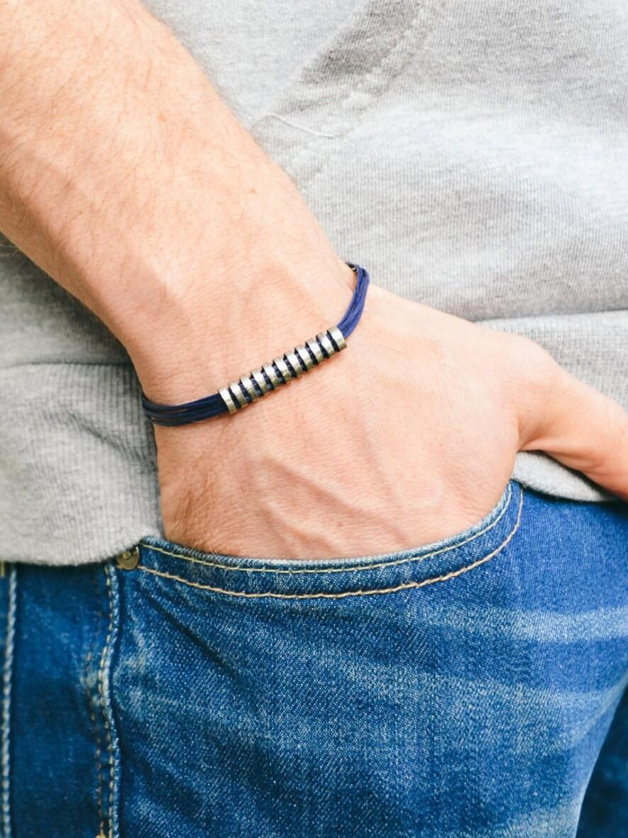 herren armband blaue schnur armband f r m nner lange. Black Bedroom Furniture Sets. Home Design Ideas