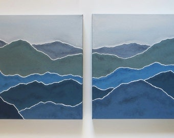 Blue Mountains, original painting, acrylic painting, canvas painting, smoky mountains, landscape art, set of 2, modern design