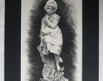 1880s Antique Enrico Buti Print of Lost Riches, Available Framed, Statue Art, Sculptor Gift, Sculpture Decor, Pretty Little Victorian Girl