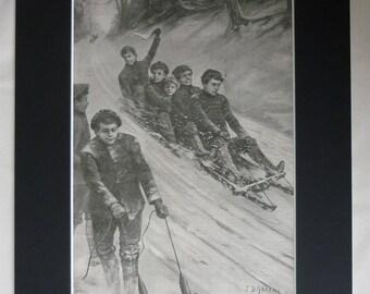 1903 Antique Sleigh Print, Available Framed, Sport Art, Winter Gift, Sledge Decor, Edwardian Wall Art, Day off School Picture, Sledging Art