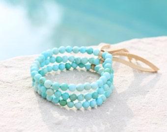 Natural Arizona Turquoise Stretch Bracelet w Leather Accent, Minimalist Stretch Bracelet, 5mm Round Beads, Robins Egg Blue, Organic, Petite,