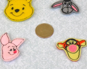 Winnie the Pooh Feltie Hair Clip Set-  FREE SHIPPING -Winnie, Eeyore, Piglet, and Tigger Felties  - Winnie the Pooh Party/Felt Party Favors