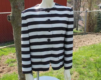 Black and Tan  Striped Jacket  from Jones of New York Size 6