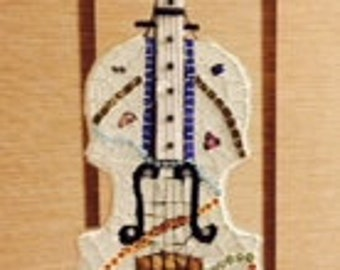 Mosaic Violin with Stand