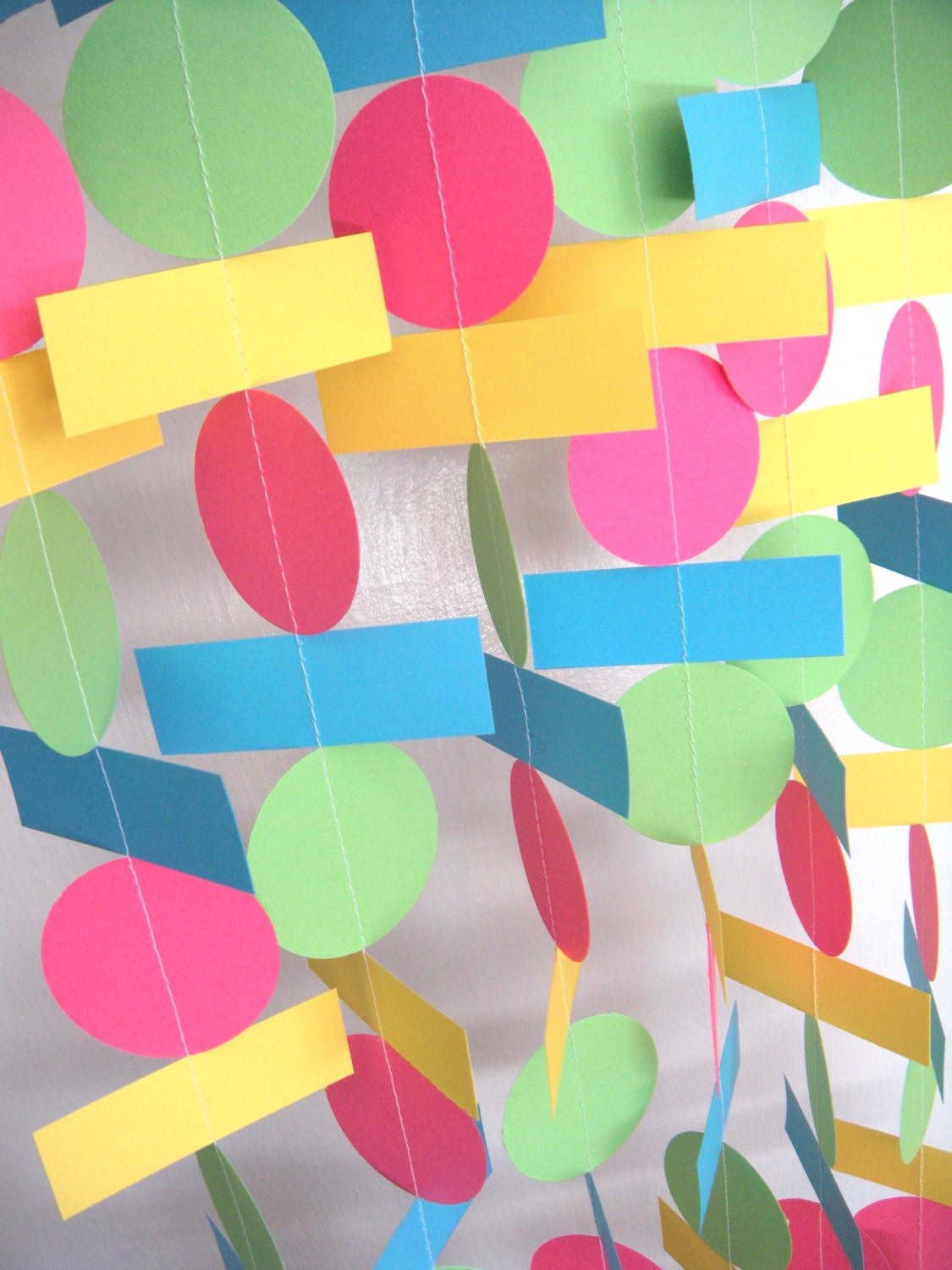 Birthday party paper garland hot pink yellow lime green