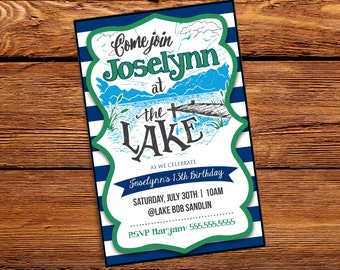 Fun at the Lake Birthday or Party Invitation - Digital File ONLY- Printable
