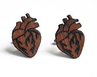 Anatomical heart cuff links, heart cuff links, wood heart cuff links,  anatomical heart, wood cuff links, valentines day gift, fathers day