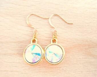 Crystal AB Rivoli Earrings - Swarovski Crystal Earrings - Gold Dangle Earrings - Rivoli Jewelry - April Birthstone