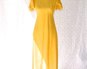 60s Designer Emma Domb Yellow Party Dress/ Full Length Mod Prom Dress. Vintage Debutant Gown. Sunshine Hippie Bridesmaid Dress. Bow Sleeves
