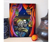 Day of the Dead Canvas Art Scheherezade Romantic ready to hang Dia de los Muertos Love print Wedding Gift Mexican Folk Art Skeleton Couple
