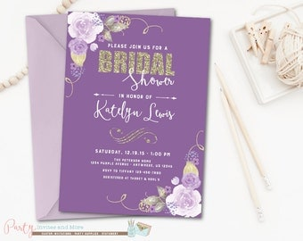 purple bridal shower invitations  etsy, Bridal shower invitations