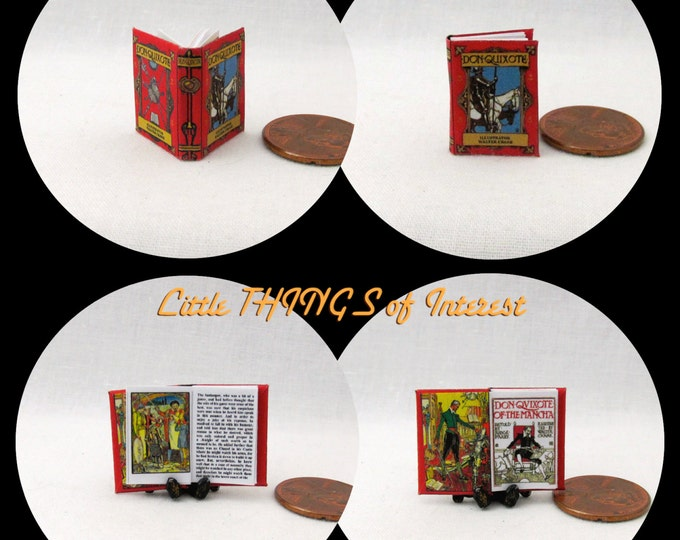 DON QUIXOTE Illustrated by Walter Crane Miniature Book Dollhouse 1:12 Scale Illustrated Readable Book