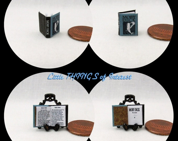 1/24 Scale Book MOBY DICK Miniature Book Dollhouse Illustrated Book Half Inch Scale