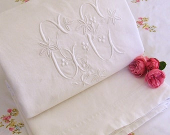 Antique French Linen Sheet with Gorgeous Large Embroidered Floral Monogram Dowry Sheet Vintage French Linen