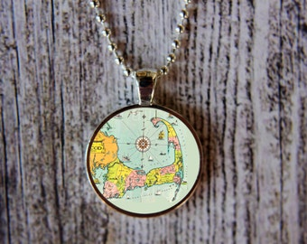 Map of Cape Cod Necklace, Cape Cod Jewelry, Vintage Map of Cape, Cape Cod Pendant, Vintage Cape Cod Necklace, Cape Cod Gift