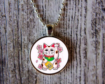 Lucky Cat Necklace, Lucky Cat Jewelry, Good Luck Necklace, Beckoning Cat Necklace, Maneki Neko Necklace,  Maneki Neko Jewelry