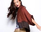 Silk and Wool Kimono | Hand dyed Marsala Kimono Jacket  | Original by Dikla Levsky
