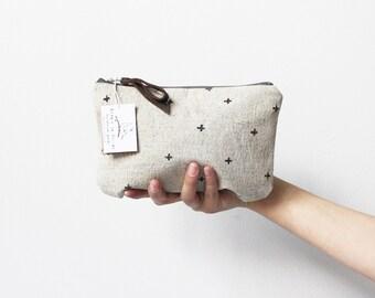 Cross print Make up bag, Hand printed linen zipper pouch, Black Swiss cross Print, Gifts for her