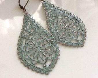 Bohemian Earrings  Patina Earrings  Light Blue Patina  Boho Earrings  Long Dangle Earrings  Filigree Earrings  Gypsy Dangles