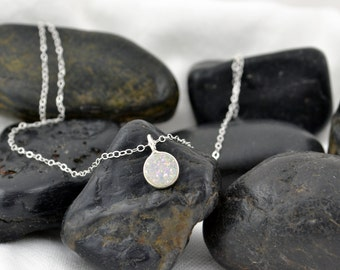 Sterling Silver White Druzy Necklace, Minimalist Rainbow Moonstone Jewelry, Drusy Quartz, Coin Pendant, Bezel Set, Han dmade Clear Raw