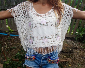 Handmade Lace Doily Fringed Top.
