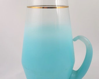 Vintage Pitcher Turquoise Frosted West Virginia Glass Blendo, Stunning Blue