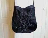 Black Lace Bag - Vintage Inspired Black Lace Purse - Gyspy Shabby Chic Black Lace Bag -  Black Lace and Velvet Purse