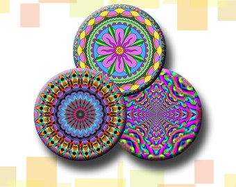 PSYCHEDELIC MANDALAS - Digital Collage Sheet - 1 and 1.5 inch images for pendants, bottle caps, round bezel trays. Instant Download #74.